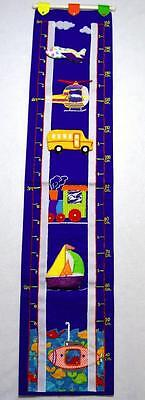 Boys Cloth Transportation Growth Chart W/photo Holder Wall Hanging~Inches & Cm