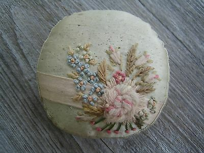 Antique Pin Cushion 1925-1940 Silk with embrodiery