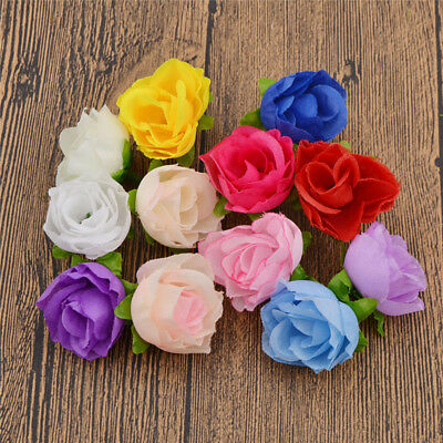 50X Decorative Fake Roses Artificial Silk Flower Heads Wholesale Wedding Decor