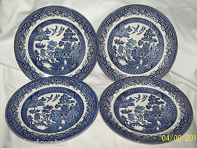 Blue Willow Pattern Four Side Plates Churchill China England Lion Backstamp