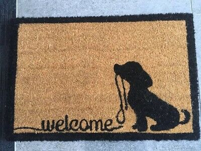 NEW -DOG WITH LEAD- COIR DOORMAT 60cm x 40cm x 1.5cm
