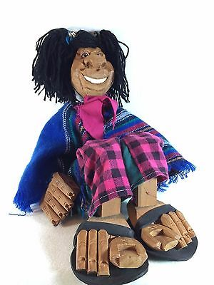 Hand Carved Wooden Girl Doll - Folk Art Marionette - Mexican Black Americana