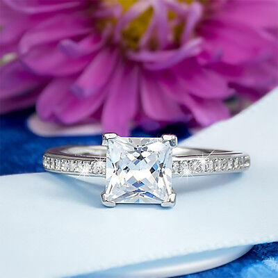 1.25 Carat  Womens Bridal Engagement RING PRINCESS CUT Sterling Silver Size 5-10