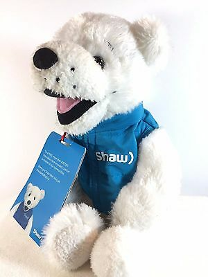 "SHAW CABLE White Bear w/ Blue Vest - Advertising Plush Toy Mascot - 14"" Tall TAG"
