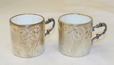 Antique~Lutz & Weiss~800 Silver~Porcelain~German Baby Cups
