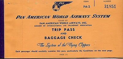 Pan American Airways Flight Ticket 1952 to Sydney from San Francisco, USA.
