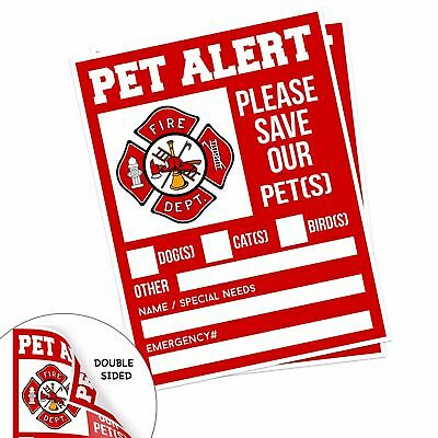 "Pet Alert Fire Rescue Sticker - 5""x 4"" Double Sided (2 Pack) - Save Our Pets ..."