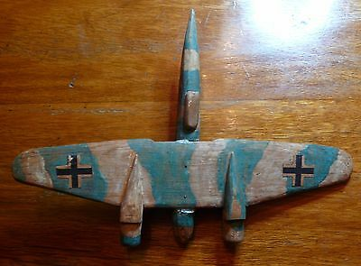 Military Airplane Wooden Model Handmade War Collectible