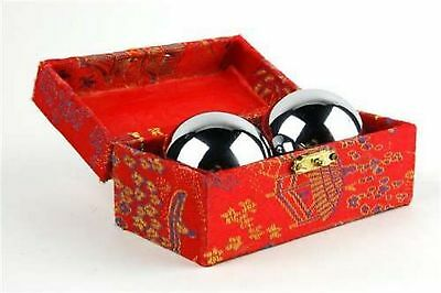 JapanBargain Chinese Health Stress Relieve Hand Exercise Baoding Balls Silver
