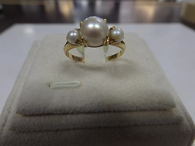 "Triple Pearl Ring 18ct solid gold Size ""M 1/2"""
