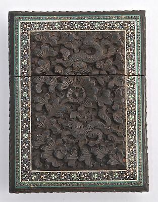 Intricately Carved & Micro Mosaic Card Case - Wood Line - Carved Dogs/Dragons
