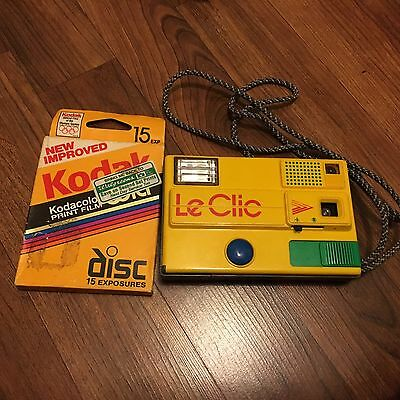 80's Retro RARE Yellow Le Clic Disk Film Camera Small Pocket Size Comes w/ Film