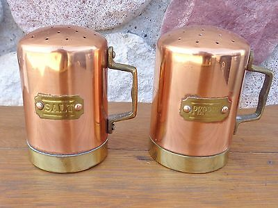 Vintage Brass and Copper SALT & PEPPER Shaker Table Set - Rustic Farmhouse Cabin