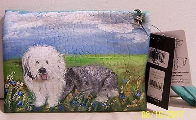 Hand painted Old English Sheep Dog Jones New York Charging Pouch Wristlet