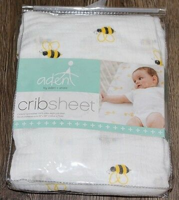 aden by aden + anais Muslin Crib Sheet in Life's a Hoot Bee *NEW IN PACKAGE*