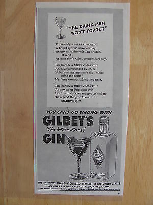 1942 Gilbey's Distilled London Dry Gin AD  Drink Men Won't Forget
