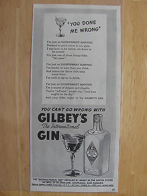 1942 Gilbey's Distilled London Dry Gin AD You Done Me Wrong