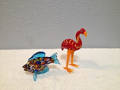 Fitz And Floyd Glass Menagerie Flamingo & Blue Fin Angel Fish