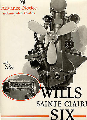 1925 WIILS SAINTE CLAIRE Six 2 Pg 2 Color CAR AD. Large ENGINE Illustr MoToR Mag