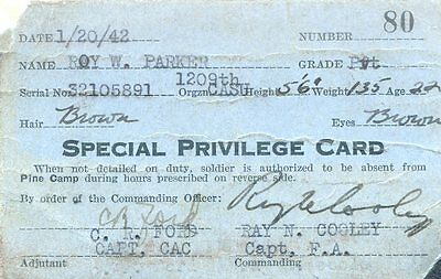 1942 Wartime Special Privilege Card, Pine Camp, USA.