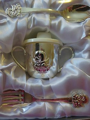 Silver Plated Duck Design Baby Spoon, Fork and Cup Set NEW