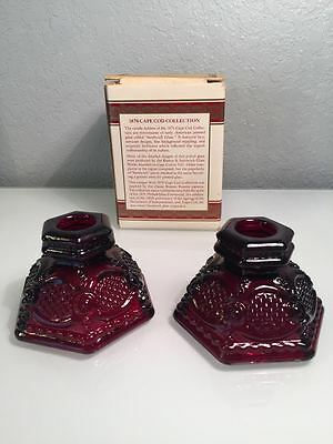 MINT Avon 1876 Cape Cod Ruby Red Glass CANDLE HOLDERS w/ Original Box, set of 2