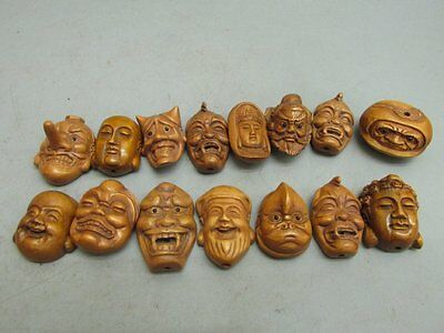 A Set Of (15) Japanese Boxwood Carved Mask / Netsuke