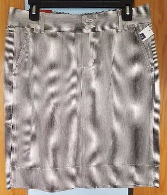 NWT Women's Gap Navy & Ivory Vertical Striped Skirt Size 8 100% Cotton