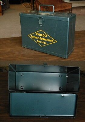Rare Vintage Philco Factory Supervised Service Metal Case !! Solid & Nice !!