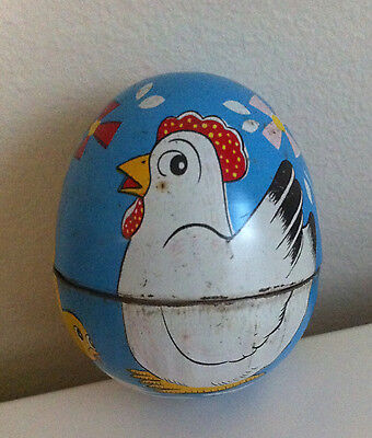 Vintage Mechanical Wind Up Tin Chicken inside Decorated Egg HAJI Made in Japan