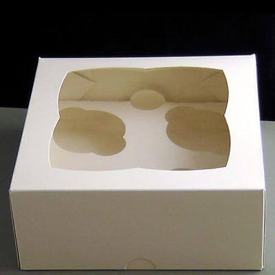 4 White Cupcake Boxes Extra Deep, Bulk Bargains Style May Vary, Various Quantity