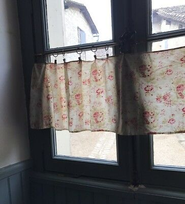 Stunning Antique french Versailles Shabby Chic Rosebuds fabric curtain c1900s