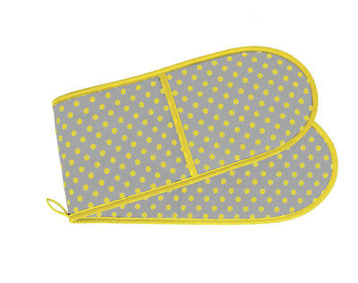 THE BRITISH TEXTILES CO Double Oven Glove 92x20cm Yellow Grey Dots 100% Cotton
