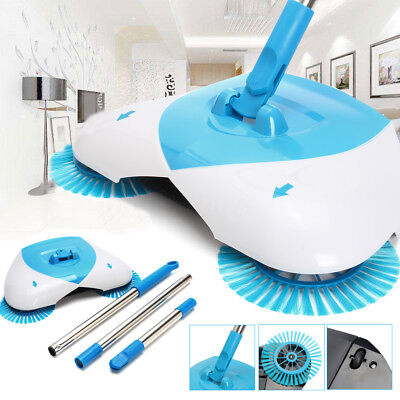 Automatic Hand Push Sweeper Spin Broom Cleaning Household Floor Mop No Electric