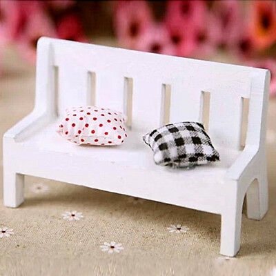 Mini Wooden Bench Chairs Fairy Dolls House Miniature Garden Furniture Accessory