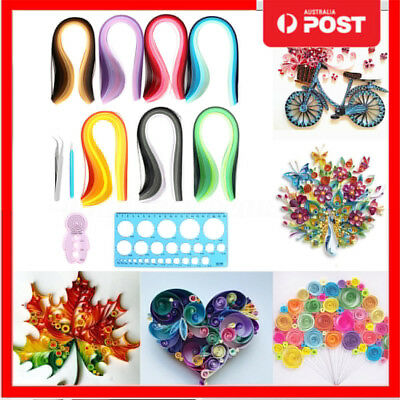 12X Quilling Paper Rolling Kit Slotted Tools Strips Tweezer Ruler DIY Crafts