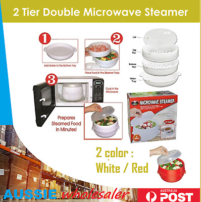2 Tier Double Microwave Steamer Layer Cooking Meals Kitchen Appliances Vegetable