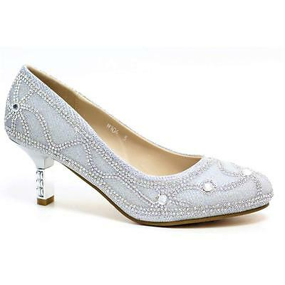 WOMENS WEDDING SHOES LADIES MID HEEL BRIDAL BRIDESMAID PARTY DRESS SHOES SIZE