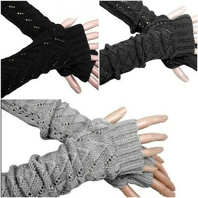 Winter Warmer Long Stretch Weave Knit Arm Warmer Fingerless Gloves Crochet