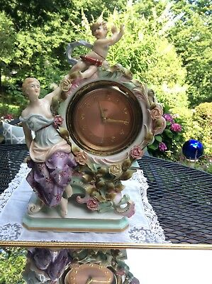 Antique Art Nouveau Terger Anker Germany Porcelain Figurine Works Boudoir Clock