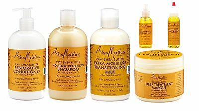 Shea Moisture Raw Shea Butter Hair Shampoo Conditioner Masque Hair Serum Elixir