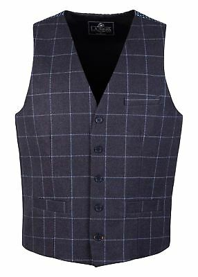 Men's Lloyd Attree & Smith Navy Check Waistcoat with Printed Back