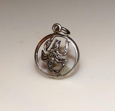 Vintage Scorpion w/ marcasites in cut out circle  Sterling Silver Charm #21N