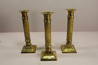 Set of 3 Soild Brass Candle Holders Column Style Gatco Imports  7 1/2""