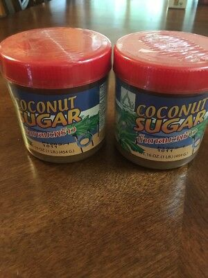 Coconut Sugar,  Asia/ Thai Food Ingredient, Made from 100% Coconut Lot 2 Jars