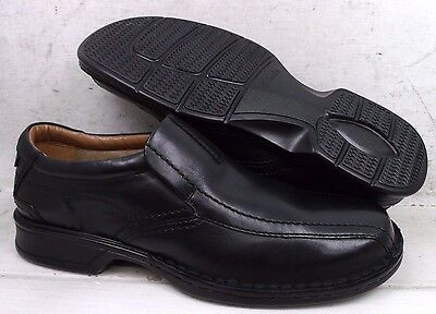 NEW Clarks Mens Escalade Step Black Leather Loafers Shoes 13918 size 10.5 M