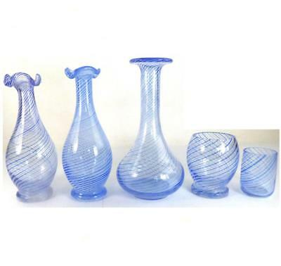 5 PCS TURKISH PASABAHCE Çesm-i Bülbül TWIST GLASS BOTTLES VASES NIGHTINGALES EYE