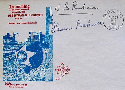 Uss Hyman G. Rickover~8/27/83~Launching Cover ++~ Signed By Adm. Rickover & Wife