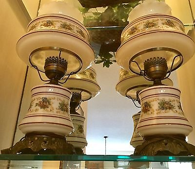 Pair of Haindpainted Antique Hurricane Lamps, Mint Condition