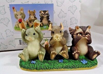 Charming Tails Figurine Hear Speak and See No Evil